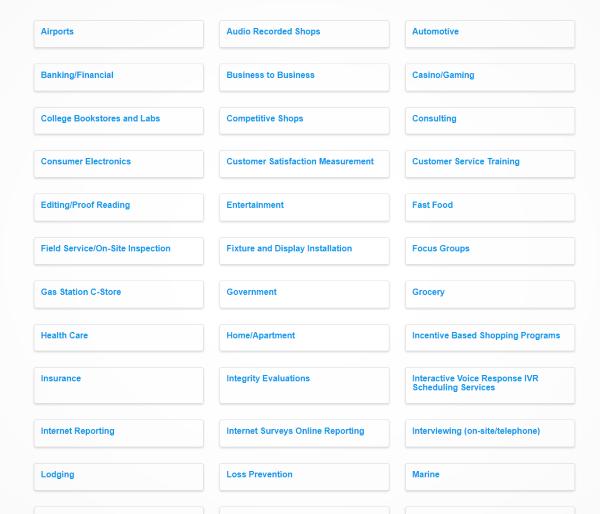 Screenshot of MSPA categories.  Is mystery shopping legitimate?
